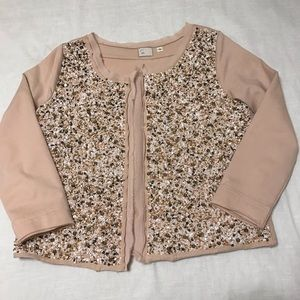 Anthropologie Postal Paillette cream beaded top